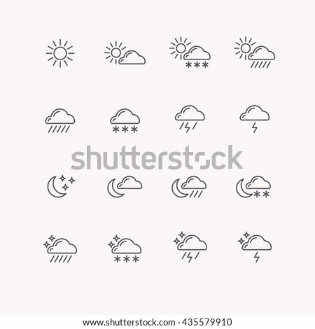 Set of vector line icons weather. Flat image, sun, clouds, rain, moon and vector stars. - stock vector