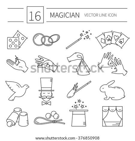 Set of vector line magician icons.Magic show. - stock vector