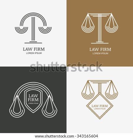 Set of vector line style vintage law firm logo design template. Trendy abstract illustration of scales and shield. Design concept for law and legal business, heraldic emblem, lawyer, labels, badges.