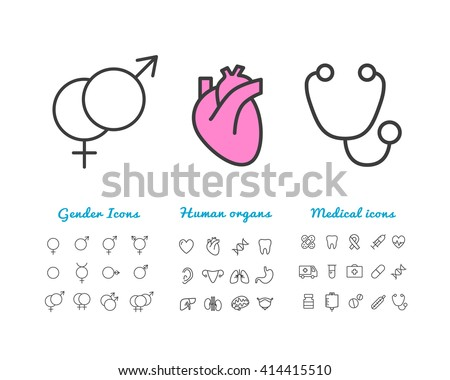 Set of vector linear icons gender icons, human internal organ icons, medical icons. Outline icons for web and application. Icons for hospital, emergency - stock vector