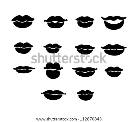 Stock Vector Set Of Vector Lips In Black Color on Zipped Mouth Cartoon