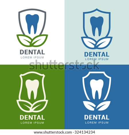 Set of vector logo icons design. Tooth, shield and green leaves illustration. Concept for dental clinic, dentist and medicine. - stock vector