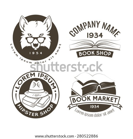Set Vector Logos Labels Book Shop Stock Vector Hd Royalty Free