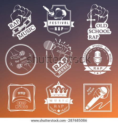 Set of vector logos badges and stickers hip hop and rap music collection of