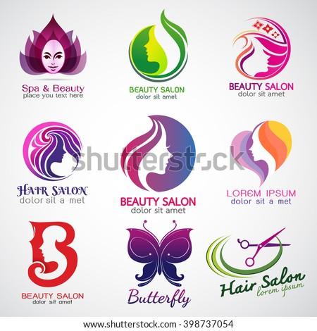 set of vector logos beauty salon set design - stock vector