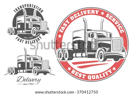 set vector logos semi trucks stock vector 370412750 shutterstock rh shutterstock com semi truck logo download semi truck logos free