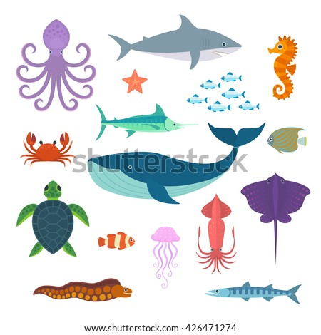Set of vector marine fish and animals. Vector Set of Sea Creatures. - stock vector