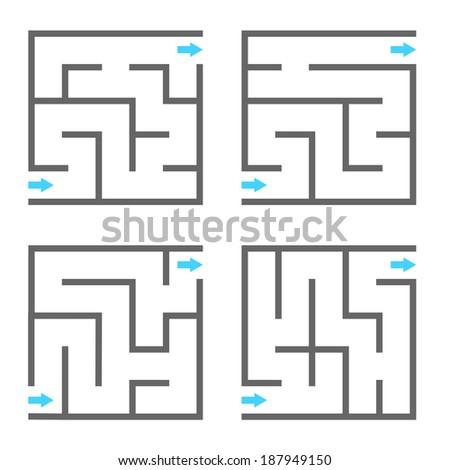 Set of vector mazes - stock vector