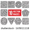 Set of 10 vector mazes. Different black and white shapes - stock vector