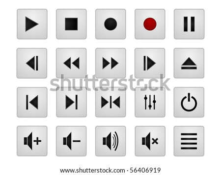 Set of 20 vector media icons - stock vector
