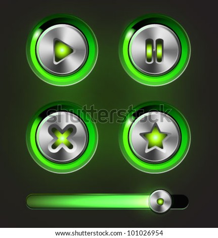 Set of vector media player elements.Glossy metal buttons with track bar. - stock vector