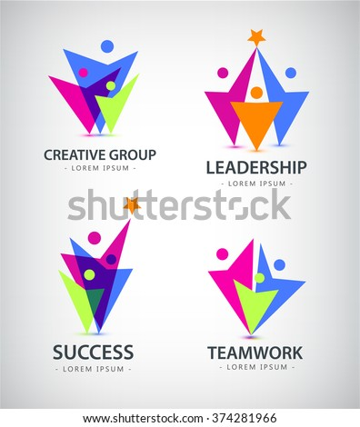 Set Of Vector Men Human Logos Icons Family Team People