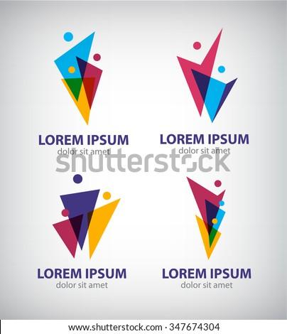 Set of vector men logos, human icons. Family team logo, people logos, teamwork  - stock vector