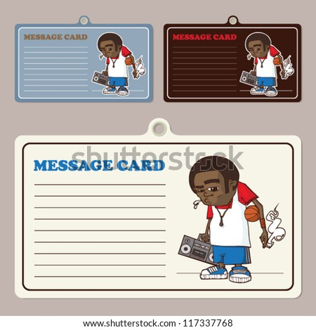 Set of vector message cards with streetball character. - stock vector