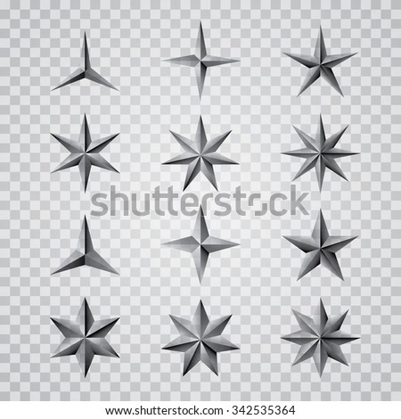 set of vector metal transparent stars - stock vector