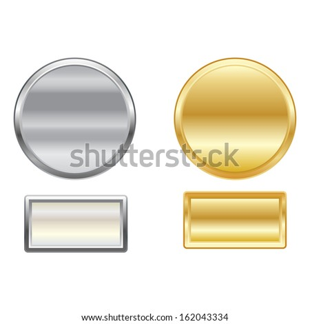 Set of vector metallic buttons. Can be used for web design. - stock vector