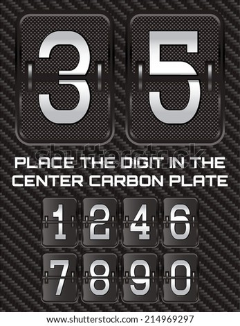 set of vector metallic numbers on carbon background