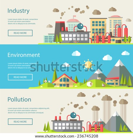 Set of vector modern flat design conceptual ecological illustrations - stock vector