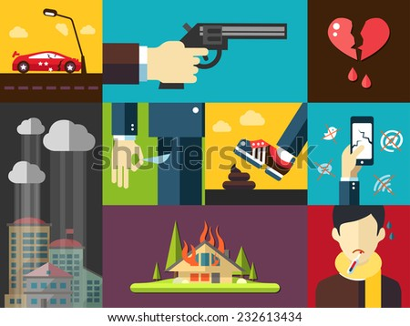 Set of vector modern flat design men's bad things icons for your design - stock vector