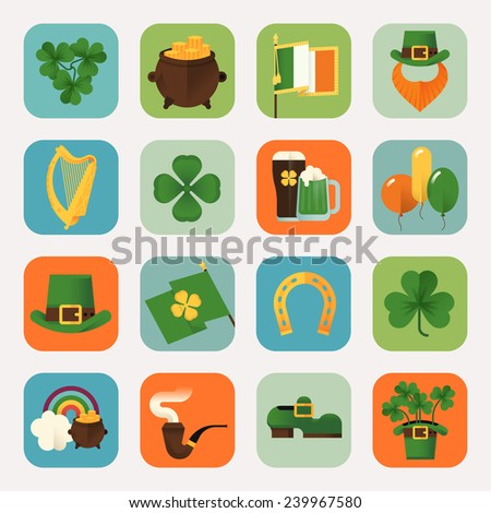 Set of vector modern flat design round corners icons on Saint Patrick's Day featuring Ireland flag, harp, clover leaves, horseshoe, leprechaun hat, shoe, smoking pipe, pot of gold, beer and more - stock vector