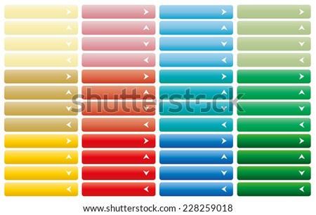 Set of vector modern horizontal web buttons with white arrow in color combination. Group of Yellow, orange, red, blue and green graphic website navigation or menu - stock vector