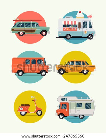 Set of vector modern web icons on city urban and travel vehicles, cars, vans and trucks circle various background icons with surf woodie car, ice cream van, yellow taxi cab, retro scooter, caravan - stock vector