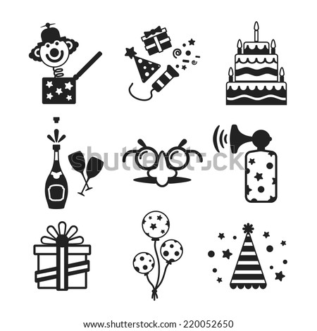 Set of vector monochrome celebration icons in flat style like pie champagne wineglass gift box air balloon funny mask cap and jack in the box - stock vector