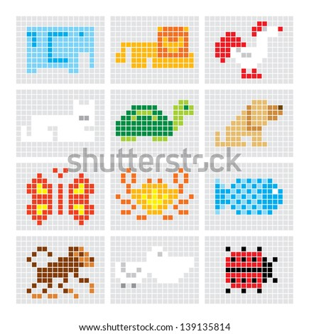Set of vector mosaic sketch animals for your design - stock vector