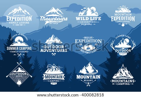 Set of vector mountain and outdoor adventures logo on mountain landscape background. Travel icons for tourism organizations, outdoor events and camping leisure.
