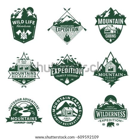 Set Of Vector Mountain And Outdoor Recreation Logo.