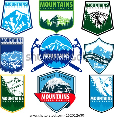 Set of Vector Mountains Emblems on Shields - stock vector