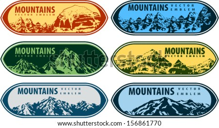 Set of Vector Mountains Emblems on Shields