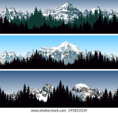 set of vector mountains forest background texture seamless pattern - stock vector