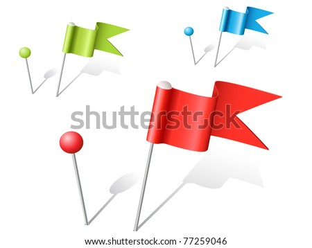 set of vector multicolored ball and flag pins - stock vector