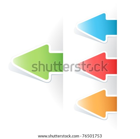 set of vector multicolored tag arrow label