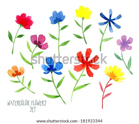 set of vector multicolored watercolor stylized flowers - stock vector