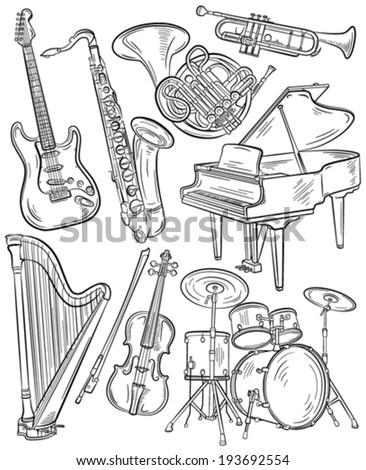 Set of vector music instruments - stock vector