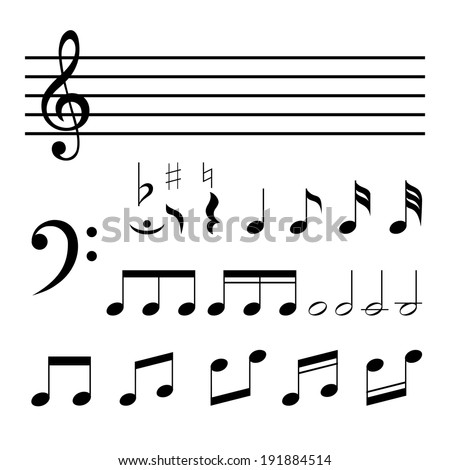 Set of vector music notes isolated on white background - stock vector