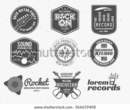 Set of vector music production logo,label, sticker, emblem, print or logotype with elements - guitar, sound recording studio, t shirt, sound production Podcast and radio badges, typography design - stock vector