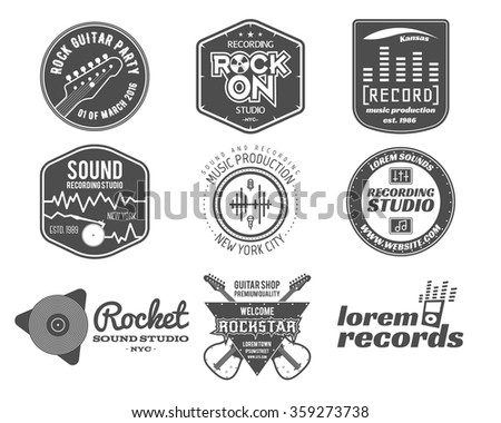Set of vector music production logo,label, sticker, emblem, print or logotype with elements  guitar for sound recording studio, t-shirt or sound production Podcast and radio badges, typography design - stock vector