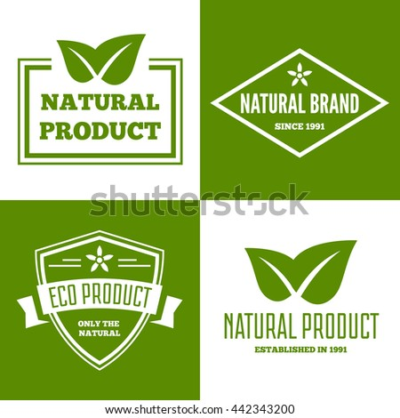 Set of vector natural ecology logotypes elements, icons, symbols, labels, badges and silhouettes