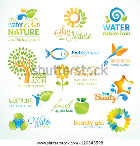 Set of vector nature icons - stock vector