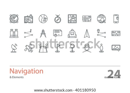 Set of vector navigation outline icons. Colorless. - stock vector