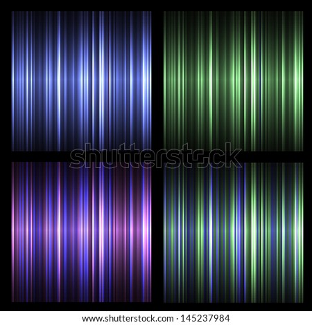 Set of vector neon striped backgrounds