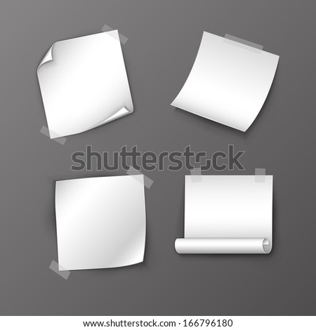 Set of vector note papers - stock vector