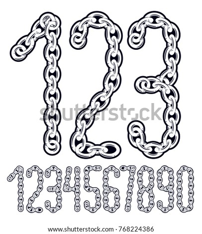Set Of Vector Numbers From 0 To 9 Cool Numerals For Use As Poster Design