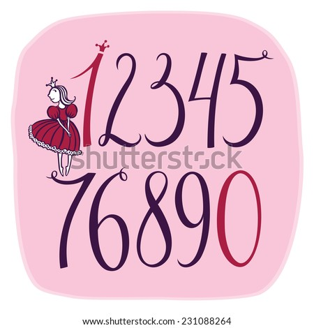 Set of vector numbers with A Little Princess - stock vector