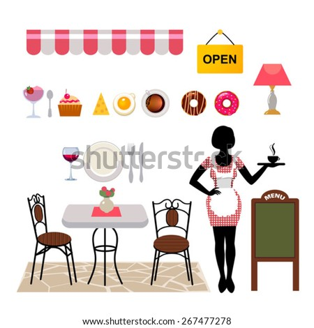 set of vector objects for cafe business with standing waitress