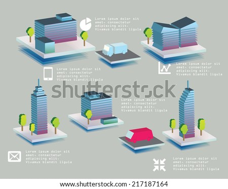 Set of vector office buildings for use in yours design. - stock vector