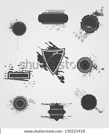 Set  of  vector  old dark  vintage grunge label. - stock vector